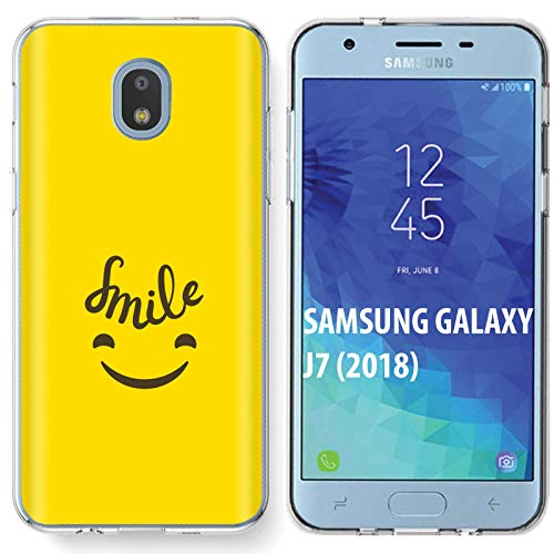 TalkingCase Clear Thin Gel Phone Case for Samsung Galaxy J7 2018,J7(V 2nd,Star,Aura,Crown),Happy Smile Emoji Yellow Print,Light Weight,Ultra Flexible,Soft Touch,Anti-Scratch,Designed in USA