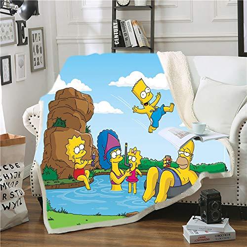 Manta para sofá de The Simpsons, con impresión 3D, para aire acondicionado, suave y cómoda, para adultos (5,150 x 200 cm)