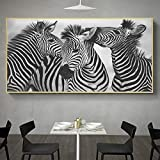 ZDFDC Animal Arte de la Pared Lienzo Pintura Blanco y Negro Cebra Pósters e Impresiones Sala de Estar Dormitorio Decoración del Hotel Imagen de la pared-50x100cmx1 sin Marco