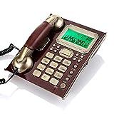 Topiky Teléfono Antiguo Atado con Alambre de la línea Fija del Vintage,teléfono montado en la Pared Retro Europeo del Escritorio,Despertador/protección contra la luz (Madera de durazno rde)