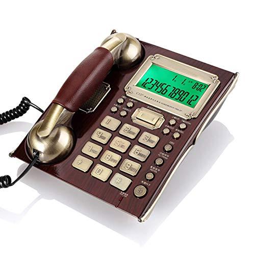 Wired Antique Vintage Telefono fisso domestico,Retro classico europeo Telefono da parete a muro,Sveglia/Protezione parafulmine/Volume regolabile,Regalo/Decorazione per Hotel(Legno di pesco Rde)
