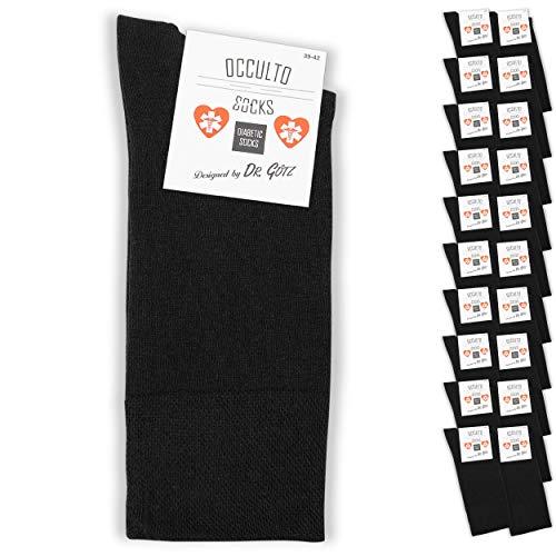 Occulto 10 | 20 Paar Diabetikersocken für Herren und Damen Diabetiker Comfort Socken ohne Gummi ohne Naht | Komfort Bund Socken für Frauen und Männer in schwarz grau blau