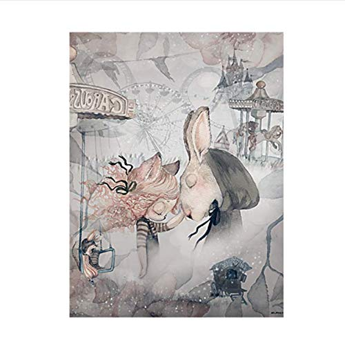 daerduotutu Home Decor Nordic Canvas Painting Art Poster Rabbit Girls Boys Cartoon Watercolour Decor for Kid Bedroom A16 50×70CM Without Frame