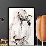 Hechuyue Toile Noir et Blanc Personnages Peinture À l'huile Affiche Abstraite Vintage et Impressions Nordique Salon Art Mural Peinture sans Cadre 20x30cm