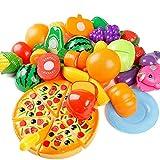Comius Sharp Alimentos de Juguete, 24 Piezas Juguetes Cortar Frutas Verduras Pizza Juego de Plástico para Niños, Juego Educativo de Simulación