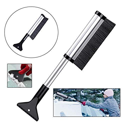 EasyULT Cepillo de Nieve con Rasqueta de Hielo, 2 en 1 Multifuncional y Escalable, Telescópica para Coche Limpiar Nieve de Parabrisas
