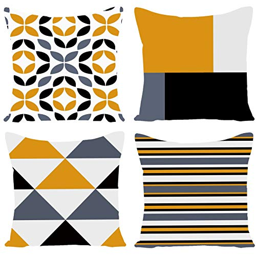Wilproo Fashion Geometric Pattern Throw Pillow Covers Square Decorative Cushion Case for Sofa Bench Car Bed 18 x 18 Inch Set of 4 (Lemon Yellow)