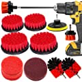 Drill Brush and Scrub Pads, VONDERSO 15 Pieces Power Scrubber Kit with Long Reach Attachment for Kitchen Washing, Bathroom Shower Scrubbing, Carpet Cleaning, Grout Scrubbing, and Tile Cleaning