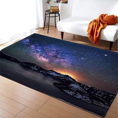 Alfombra De Cielo Estrellado 3D, Alfombra De Piso con Estampado De Planetas, Alfombra Decorativa Antideslizante para Sala De Estar Y Dormitorio
