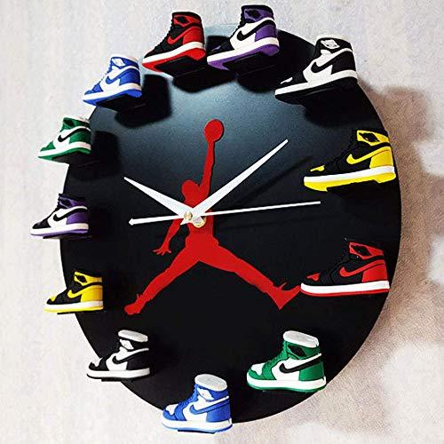 YYG Reloj de Pared con Mini Zapatillas de Deporte 3D, diseño novedoso Reloj de Pared con Zapatillas 3D, decoración del hogar para Aficionados a los Deportes Cocina del hogar y la Sala de Estar