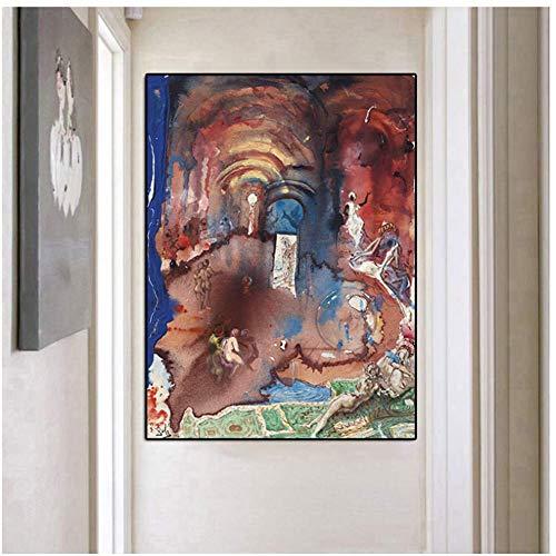 A&D Surreale Idee Salvador Dali Zusammenfassung Sexy Figur Landschaft Malerei Leinwand Poster Druck Wandkunst Bild Für Wohnzimmer -60x80cmx1pcs- Kein Rahmen