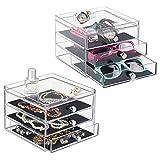 mDesign armoire à tiroirs – la boîte de rangement à trois tiroirs – utilisable par exemple comme organisateur de bijoux intelligent - lot de 2