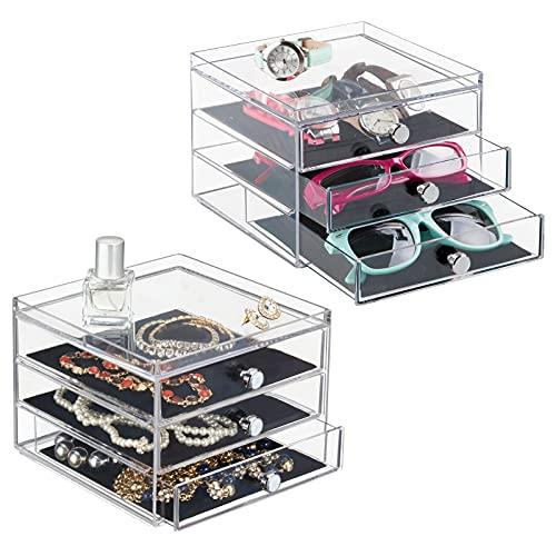 mDesign Schubladenbox – die Aufbewahrungsbox mit drei Schubladen, beispielsweise als Schmuck Organizer - 2er-Set