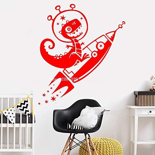 zhuziji Dibujos Animados Dinosaurio Cohete Pared calcomanía para habitación de niños decoración del hogar Dino Space Star Pegatinas de Pared Vinilo niños Dormitorio Arte Mural 888-1 m 56 cm x 65 cm