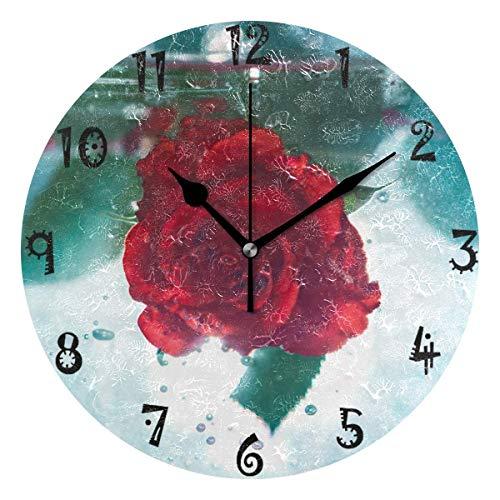 Azalea Store - Reloj de pared circular con forma de rosa roja, con placa redonda, silencioso, sin tachuelas, para cocina, dormitorio, hogar, oficina, escuela, niños, niñas y niños