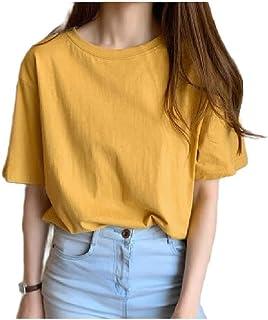 HEFASDM Women's Casual Short Sleeve T-Shirt Loose Cotton Blouse Top