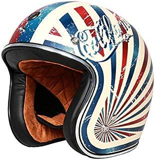 Leoie Helmet,Unisex Vintage Motorcycle Helmet Built-in Lens Open Face Helmet Ivory White XXL