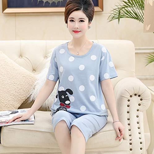 DFDLNL Conjunto de Pijama de algodón 100% para Mujer, Ropa de Dormir de Lunares para Perro, chándal Informal de Color Azul para Mujer, Pijama de Talla Grande para Mujer L