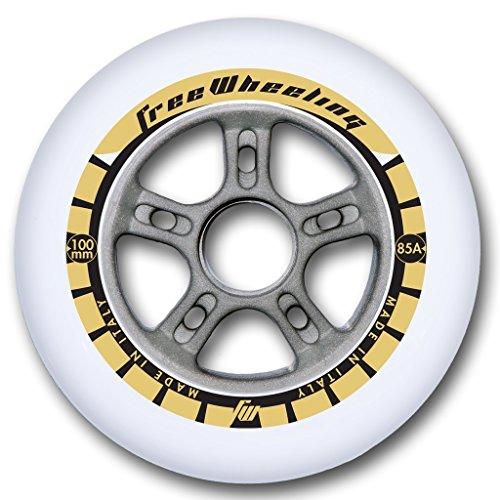 FreeWheeling - Rollen für Inline-Skates in Silber, Größe 100 mm