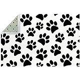 Lindo perro negro huella animal alfombra área grande para sala...
