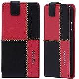 LG L90 Hülle, numia Handyhülle Handy Schutzhülle [Handytasche mit Standfunktion & Kartenfach] Pu Leder Tasche fürLG L90 (D405) Hülle Cover [Schwarz-Rot]