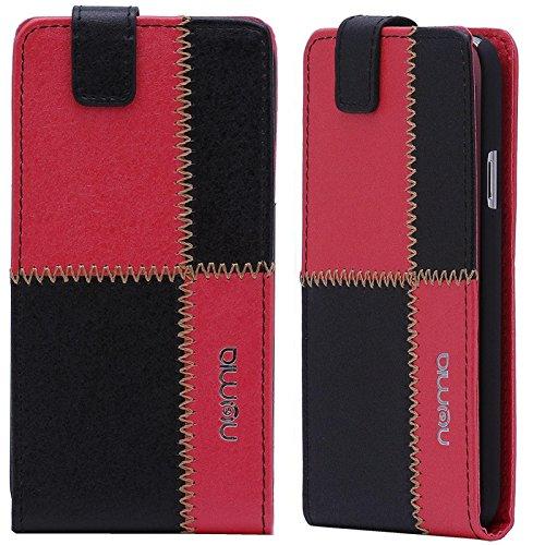 Huawei Ascend G630 Hülle, numia Handyhülle Handy Schutzhülle [Handytasche mit Standfunktion & Kartenfach] Pu Leder Tasche fürHuawei Ascend G630 Hülle Cover [Schwarz-Rot]