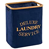 YOUDENOVA 66L Laundry Basket Hamper with Bamboo Handle for Toys of Baby and Pet Dogs, Clothes and Blanket(Blue)