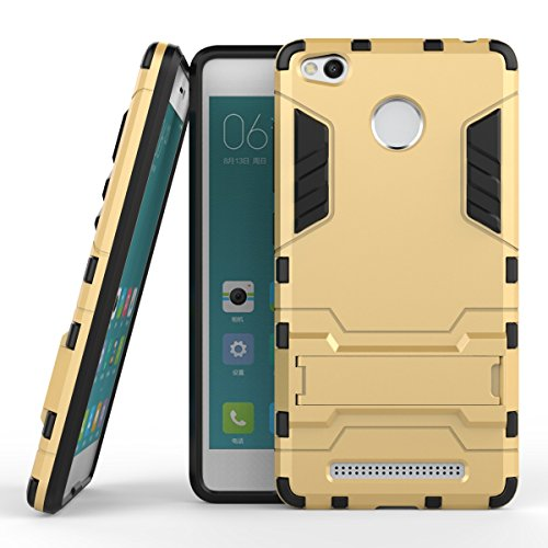 Yhuisen 2 in 1 Iron Armor Tough Style Hybrid Dual Layer Armor Defender PC + TPU beschermende harde behuizing met standaard [Shockproof Case] ​​voor Xiaomi redmi 3S / redmi 3 Pro (Color : Gold)