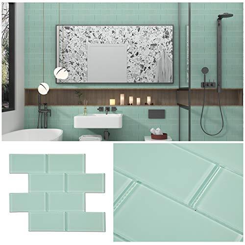 Soulscrafts Glass Subway Tile for Kitchen Backsplash Bathroom Shower Wall 3 x 6 Inch Ice Age (40-Pack, 5 sq.ft.)
