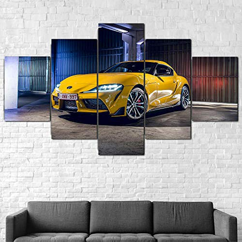 5 Teilig Bilder Leinwand,Leinwanddrucke 5 Stück,Leinwanddrucke Wanddekoratio 5 Teiliges Wandbild,Bilder Wohnzimmer Modern Mit Rahmen,3D Xxl Bilder,Wohnzimmer,150X80Cm Toyot Gr Supra 2 2020 Superauto