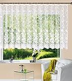 Gardine Store Kurzstore Jacquard Koblenz HxB 145x450 cm Kräuselband Universalband Weiß Blumenmuster Transparent Voile Vorhang Wohnzimmer