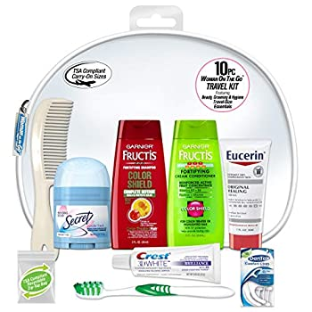 Convenience Kits International Women s Deluxe 10-Piece Kit with Travel Size TSA Complaint Essentials Featuring  Fructis Hair Products in Reuseable Toiletry Bag