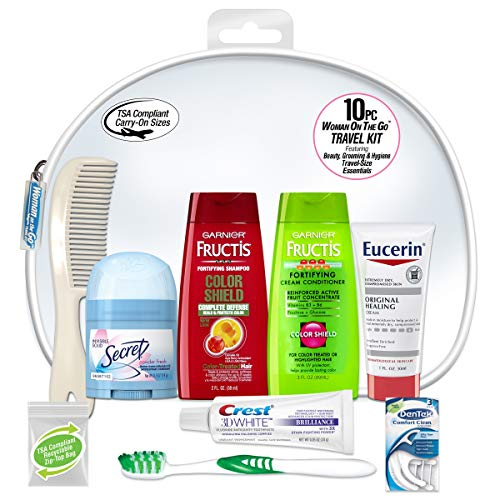 Convenience Kits International Women's Deluxe 10-Piece Kit with Travel Size TSA Complaint Essentials, Featuring: Fructis Hair Products in Reuseable Toiletry Bag
