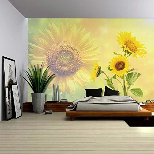 Fotobehang Fotobehang Zonnebloemen Op Een Gele Achtergrond Met Een Zonnebloem Achtergrond Home Decor Vinyl Afneembare Decor-250x175 cm (98,4 bij 68,9 inch)