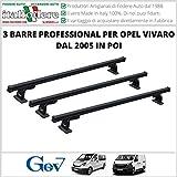 3 BARRE Portatutto Opel Vivaro dal 2005 in poi Portapacchi PROFESSIONAL Attacchi...