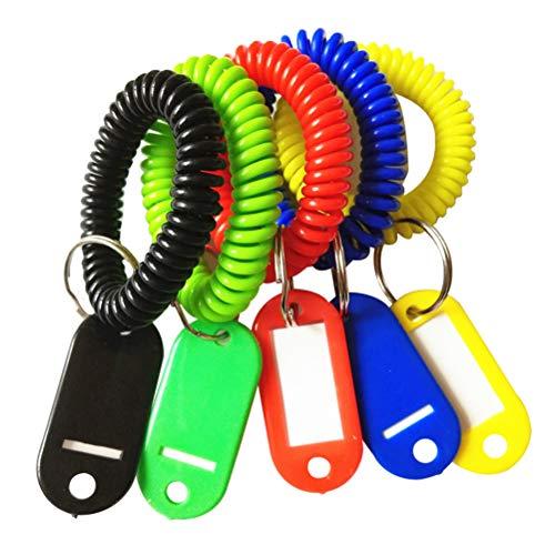 TOYANDONA 5 unids de color bobina de plástico estiramiento pulsera elástica elástica espiral pulsera llavero cadena para gimnasio ID insignia deportes al aire libre(Color aleatorio)