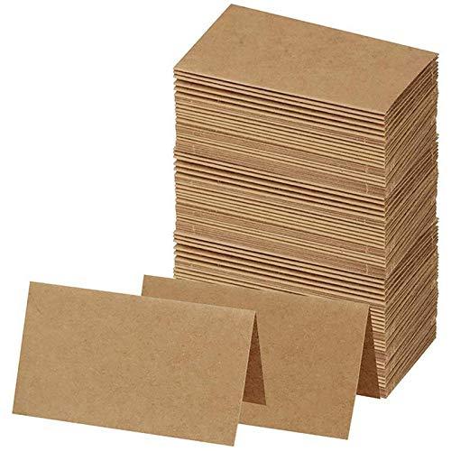 Blanketswarm Lot de 120 cartes de table rustiques en papier kraft vierge pour nom, étiquettes alimentaires, cartes de placement en vrac pour fête de mariage