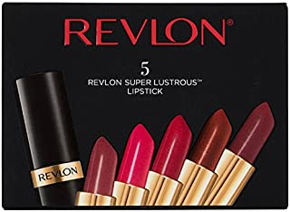 Revlon Super Lustrous Lipstick, 5 Count Piece Lip Kit Gift Set (Blushed, Softsilver Rose, Wine with Everything (Pearl), Coffee Bean, Rum Raisin)