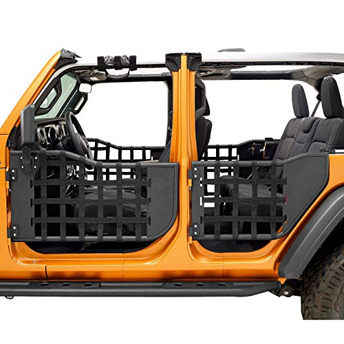 Steel +rustproof+ with mirrors Rubicon,Unlimited 4 Door 2Pcs Left /& right door Accessories,Guards Textured Black Spider for 2007-2018 J-e-ep Wrangler JK,JKU,Sport,Sahara Front Tubular Door