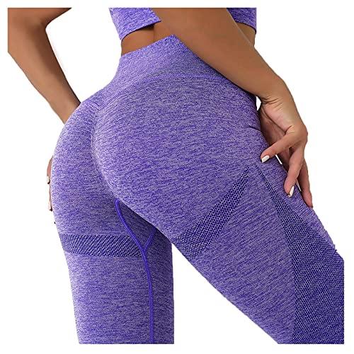 Mujer Leggings Color Sólido de Tejido de Punto Pantalones Deportivos Push Up de Cintura Alta Mallas Fitness Casual Pantalón Absorbentes y Transpirables Leggins de Deporte para Yoga y Pilates