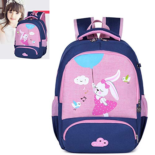 HXA Kids School Bags Cartoon Rabbit Toddler Rucksack Waterproof Kindergarten Backpack Casual Portable Children's Book Bag for Girls (Pink)