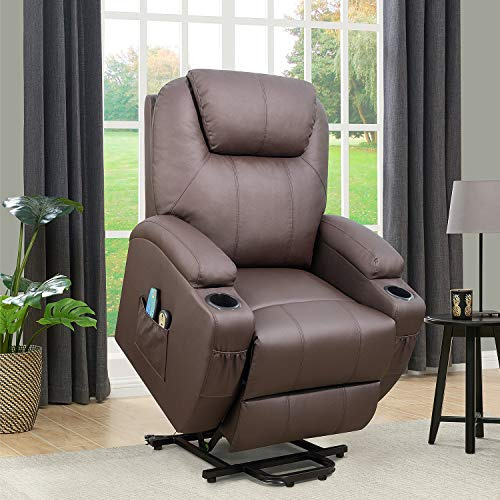 Flamaker Power Lift Recliner Chair PU Leather for Elderly with Massage and Heating Ergonomic Lounge Chair for Living Room Classic Single Sofa with 2 Cup Holders Side Pockets Home Theater Seat (Brown)