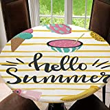 AmaUncle Elastic Edged Table Cover, Round Tables Tablecloth Table Cloth, Cute Summer with Hand Drawn Lettering Waterproof Table Pads Tablecloth Size 36