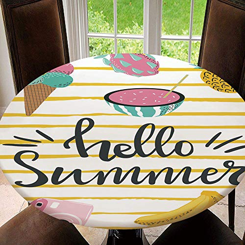 AmaUncle Elastic Edged Table Cover, Round Tables Tablecloth Table Cloth, Cute Summer with Hand Drawn Lettering Waterproof Table Pads Tablecloth Size 36'(Fit for 24.2'-28.1' Table)
