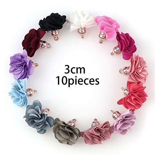 10~30pcs Mixed Types Tassel Findings Flower Silk Polyester Charms Pendant Drop Earring Tassel For Jewelry DIY Graft Making (Color : Clear)