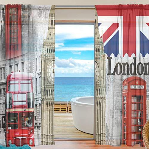 QMIN Vorhang mit Vintage-Motiv London Big Ben UK Flagge Fenster Tüll Voile Vorhang Vorhänge für Tür Wand Schlafzimmer Wohnzimmer Küche 139,7 x 198 cm, 2 Paneele, Polyester, Multi, 55x84x2(in)