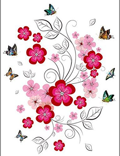 SYT Wall Stickers Mur Autocollants TV Fond Mur Fleurs Romantique beauté Bricolage Salon Chambre TV Autocollants PVC Peut être enlevé
