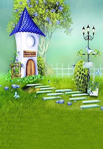 EdCott 5X7FT Vinyl Cartoon Zeichnung Fotografie Hintergrund Fantasie Wunderland Gartenhaus Stein Straße Lampe Grünland Haus Szene Fotografie Märchen Hintergrund Neugeborene Mädchen Foto Porträts