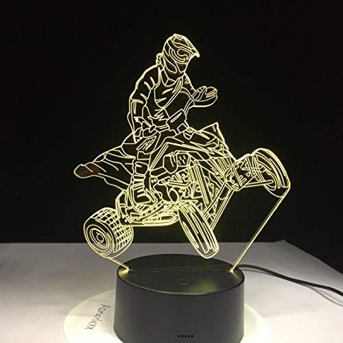 Luz De Noche De 3D Motocicleta De Montaña De Cuatro Ruedas Lámpara De Ilusión Óptica Led 16 Colores Lámpara De Mesa Usb Regulable Dormitorio Decoración Regalo De Cumpleaños Y Navidad Para Niños Recarg