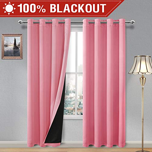 DWCN 100% Blackout Curtains – Thermal Insulated, Energy Saving & Noise Reducing Thick Double Layer Drapes for Living Room, Pink, W 52 x L 84 Inches Long, Set of 2 Grommet Curtain Panels